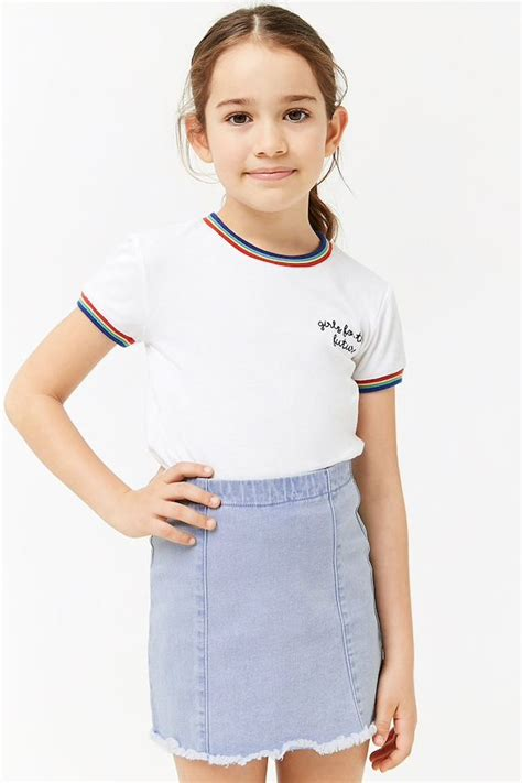 girls frayed denim skirt kids cute girl outfits girl