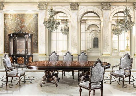 sale da pranzo di lusso sala da pranzo con finiture in foglia argento per villa