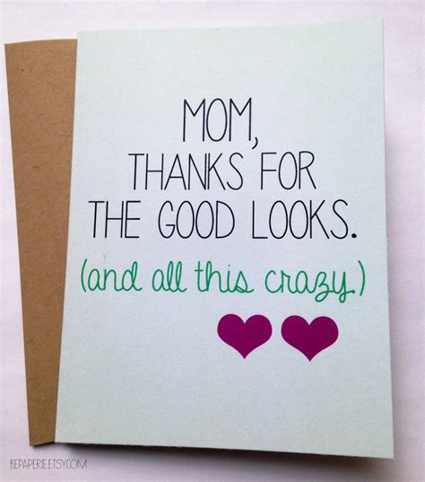 mom cards snarky mom card mother s day card mom birthday card