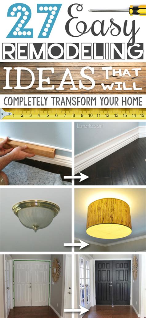 home improvement ideas 27 easy diy remodeling ideas on a budget before and