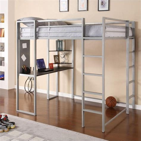 Metal Full Loft Bed In Silver With Desk 5457096 White Metal Loft Bed With Desk