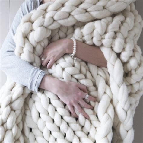woolacombe super chunky hand knitted throw by lauren aston notonthehighstreet com