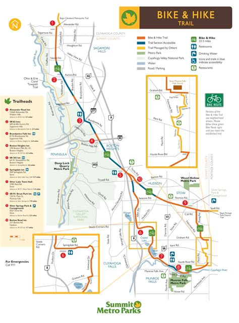 park trail map biking hiking trails in summit county summit metro parks