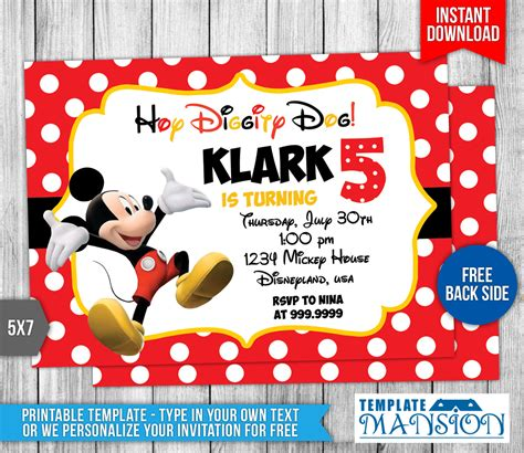 Disney Mickey Mouse Birthday Invitation By Templatemansion On Deviantart Mickey Mouse Invitation Templates