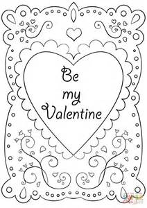 """Valentine's Day Card """"Be My Valentine"""" coloring page"""