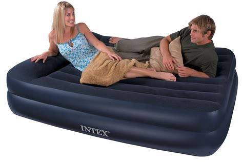 inflated bed intex queen size pillow rest airbed with built in electric