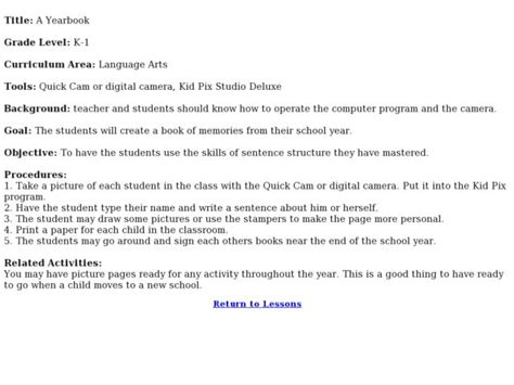 yearbook lesson plans worksheets a yearbook lesson plan for kindergarten 1st grade