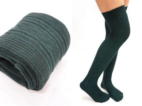 thigh high knit socks knit thigh high socks tights forest green on luulla