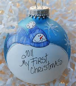 hand painted personalized baby s first christmas ornament