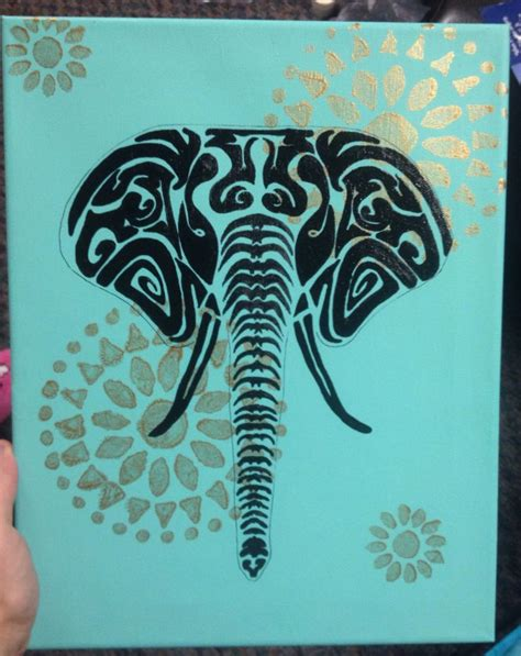 tribal pattern on canvas tribal elephant canvas engage yourself pinterest