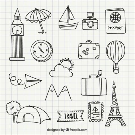 doodle sketch vector free travel icon doodles vector free