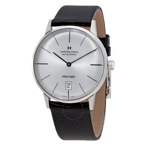 hamilton intra matic silver leather s