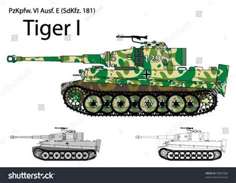 Modern Combat 5 german ww2 tiger tank winterspring camouflage stock vector
