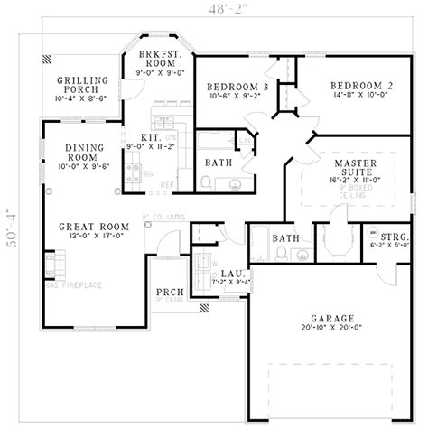 open plan living 5956nd 1st floor master suite cad