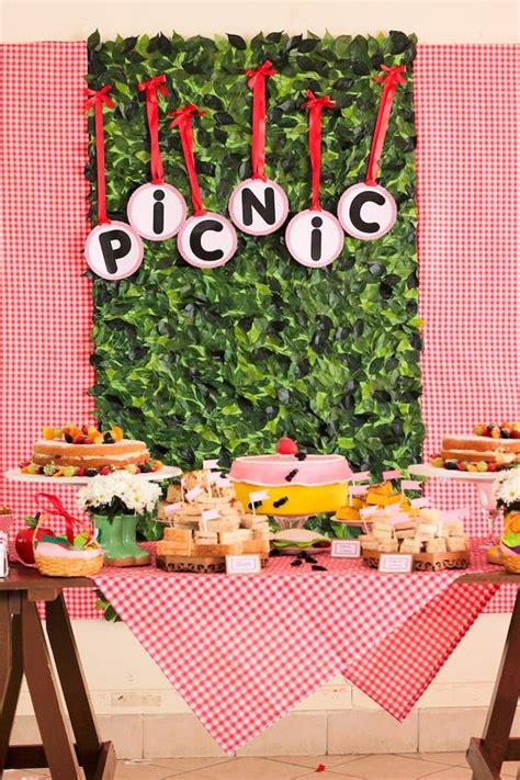 cupcake themed party games picnic themed 1st birthday party via kara s party ideas