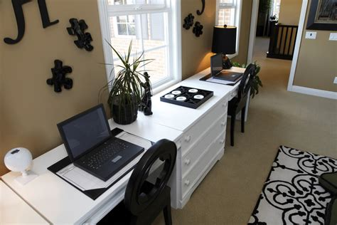 home office two desks enough space for two tips on creating duty home