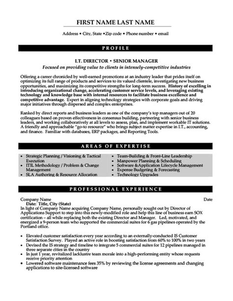 it director or senior manager resume template premium resume sles exle