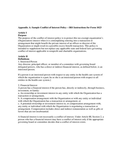 conflict of interest policy template conflict of interest policy template 2 free templates in