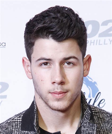 Nick Jonas Short Wavy Formal Hairstyle   Dark Brunette (Plum)