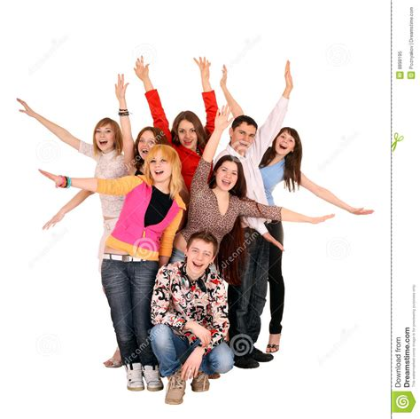 what is the meaning of young people who have a grey streaks cheerful group of young people royalty free stock photo