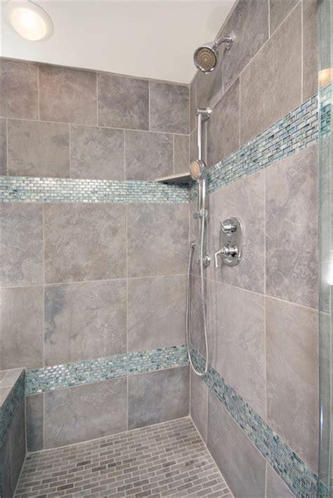 bathroom shower  cool blue tile traditional