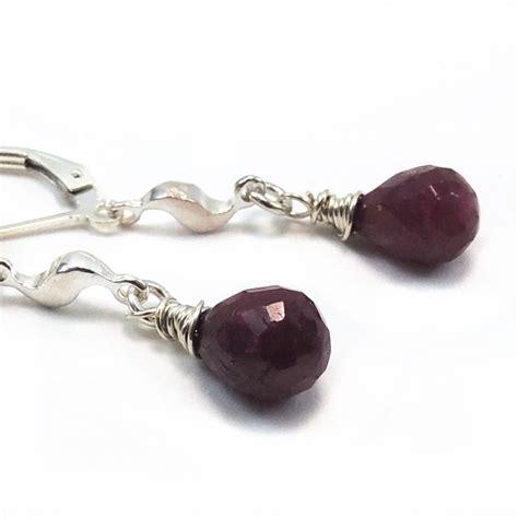 katherine handmade earrings red ruby and sterling by lotusstone ruby teardrop sterling silver earrings handmade night
