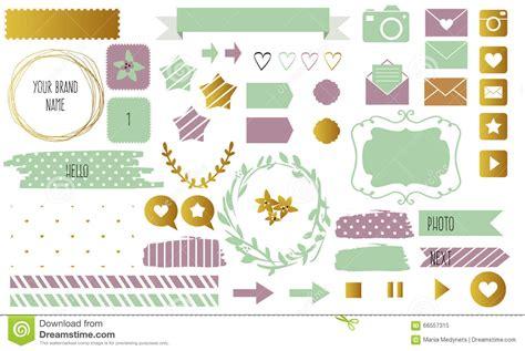 design elements blog blog design set with ribbons stickers logos frames