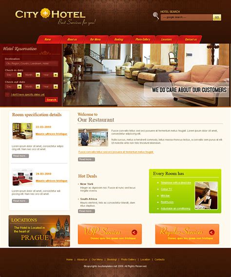 free hotel templates two column css template for hotel reservation services
