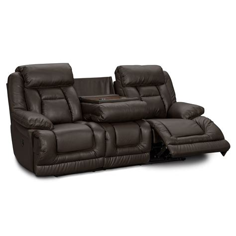 Value City Furniture Leather Power Reclining Sofa