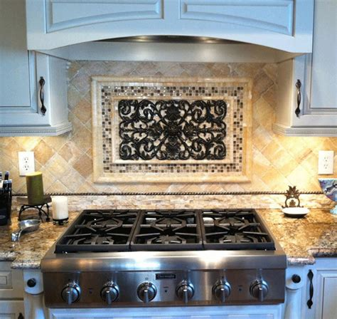 Kitchen Mural Backsplash Luxurious Metal Backsplash Murals Combined With Silver Gas Stoves Metal Backsplash