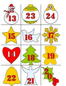 Christmas advent deco coloring number labels to print colored or