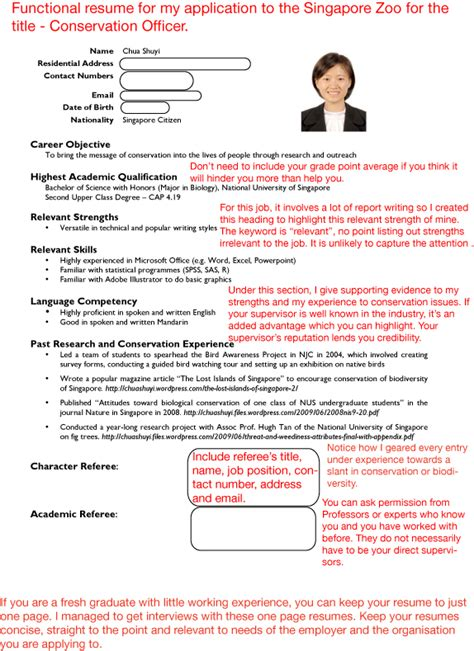 singapore resume format sle resumes s guide