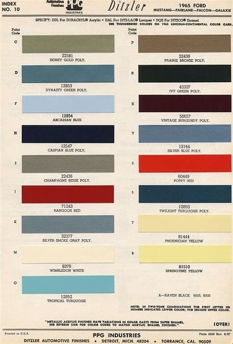 original colors of mustang 65 mercury colors vintage and originals