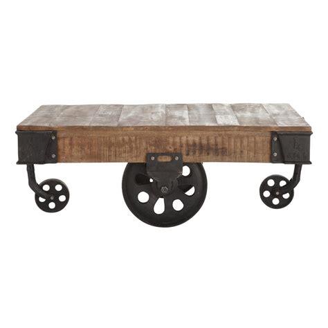 table salon conforama 130 table basse indus 224 roulettes en manguier massif et m 233 tal