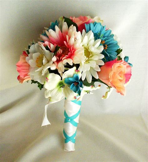 Bridal Bokay Flowers by Wedding Ideas Coral Mint And Teal Wedding