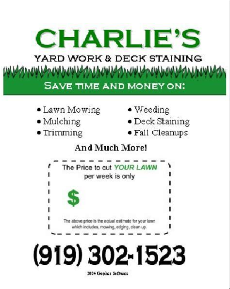 free printable lawncare card templates 16 best images about lawn care flyers on flyer