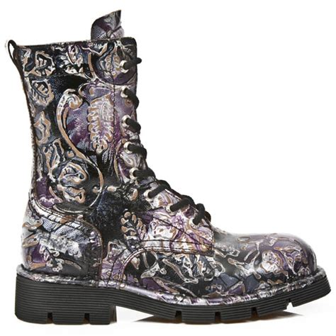 m1423 s22 new rock boots womens flowers purple