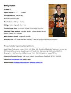 Basketball Resume Template For Player by Sle Resume For College Student Athlete Ebook Database