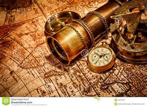 vintage items vintage items on ancient map royalty free stock photography image 30679037