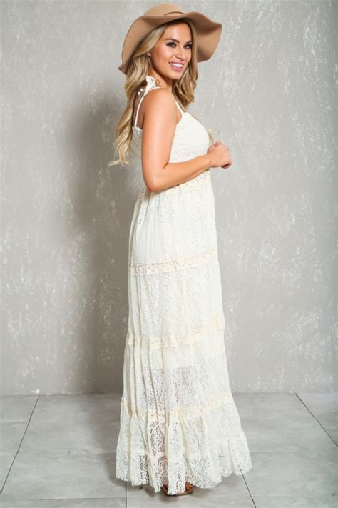 Dress Aaaa white knitted casual boho maxi dress
