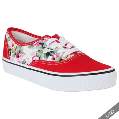 flat floral shoes floral glitter slip on plimsolls trainers