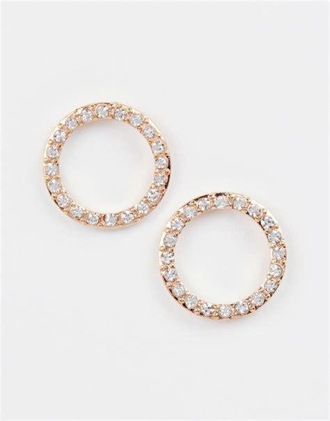 Circle Earrings lyst asos rhinestone open circle earrings in metallic
