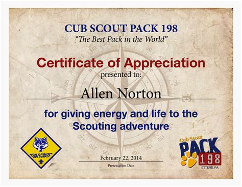 Cub Scout Advancement Card Templates by Cub Scout Certificate Of Appreciation Just B Cause