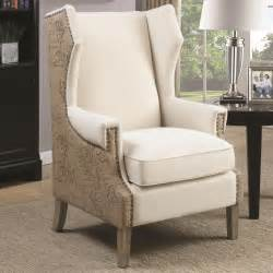wing back accent chair coaster 902491 wing back oatmeal fabric accent chair with