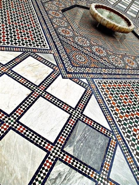 moroccan tile pattern geometric print pinterest stunning zellij floor tiling in a courtyard geometry in