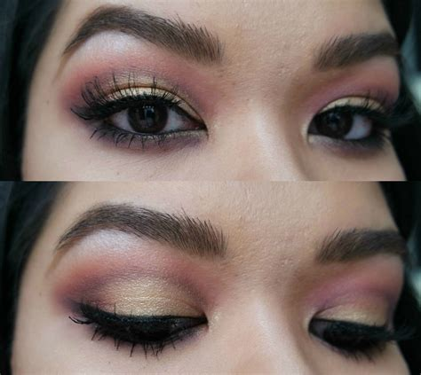 Mascara Silky pink gold cut crease makeup tutorial smokey malaysia