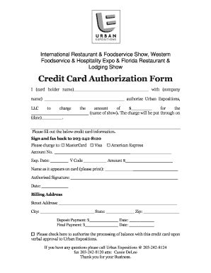 Restaurant Credit Card Authorization Form Template by Card Template Forms Fillable Printable
