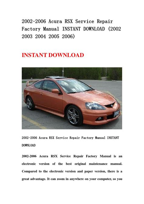 2005 acura rsx manual 2005 acura rsx workshop manual free 2002