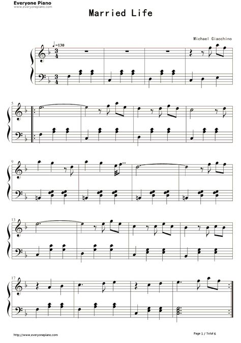 theme song up quot married life quot theme song from quot up quot sheet music