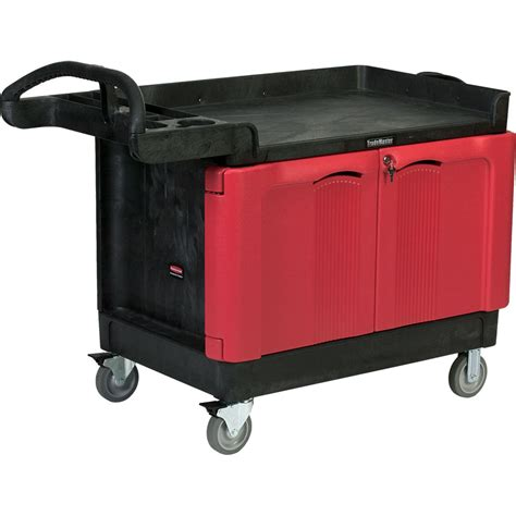 Door Cart by Trademaster Utility Cart W 2 Door Lockable Cabinet Large